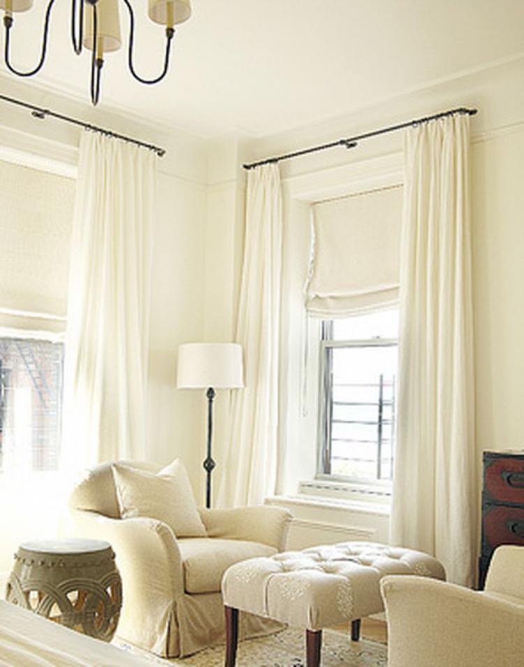 Flat Roman Shades Living Room